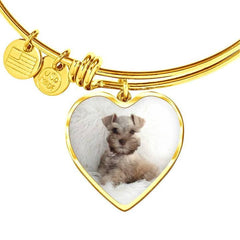 Your Pet's Photo Heart Charm Bangle Bracelet