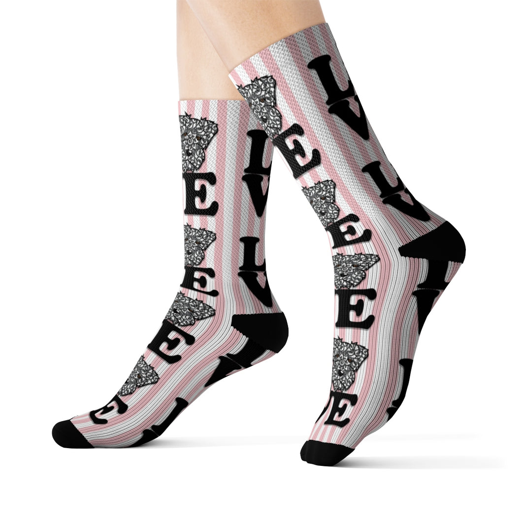 Schnauzer Love Pink Stripes Sublimation Socks