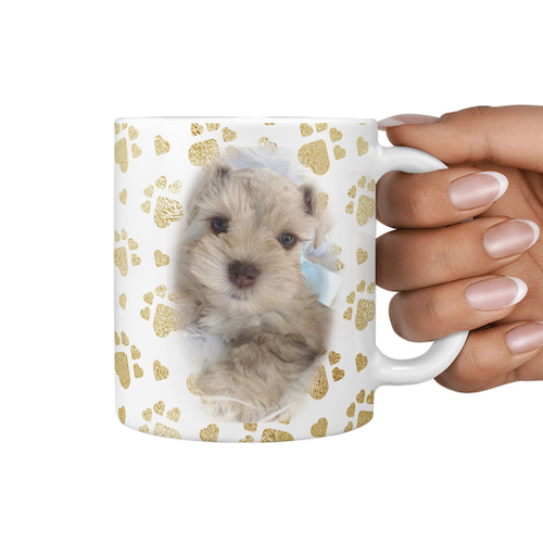 Your Pet Photo On Gold Heart Paws Cutom Mug