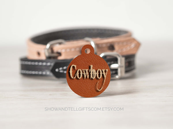 leather background pet id tag with name