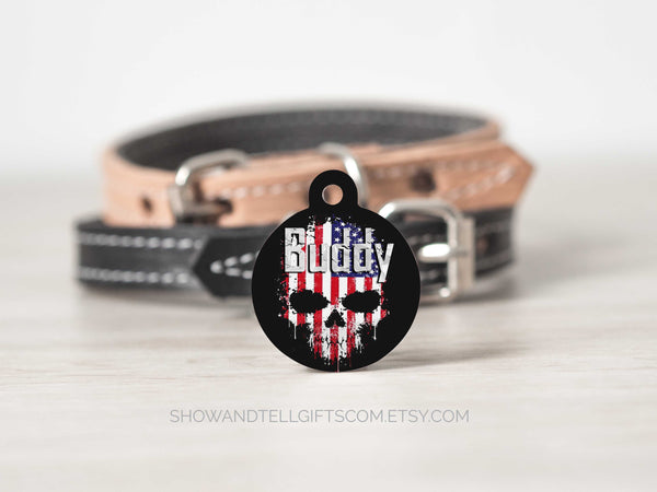 american flag in skull pet name id tag
