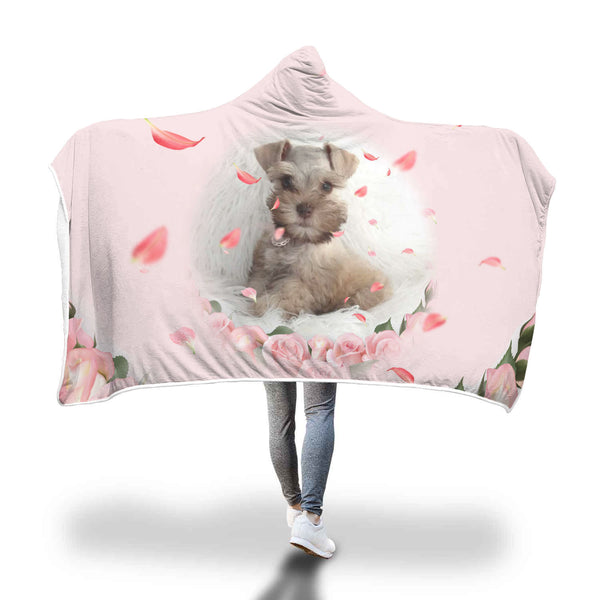 picture of Schnauzer on back of hooded blanket