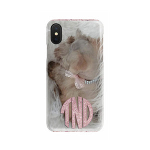 your pet photo on a slim cell phone case with pink glitter monogram