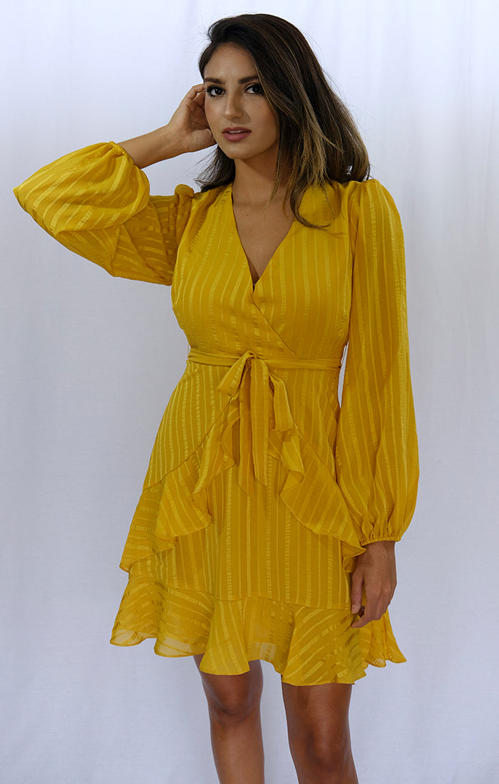 Gold Ruffle Tie Front Dress