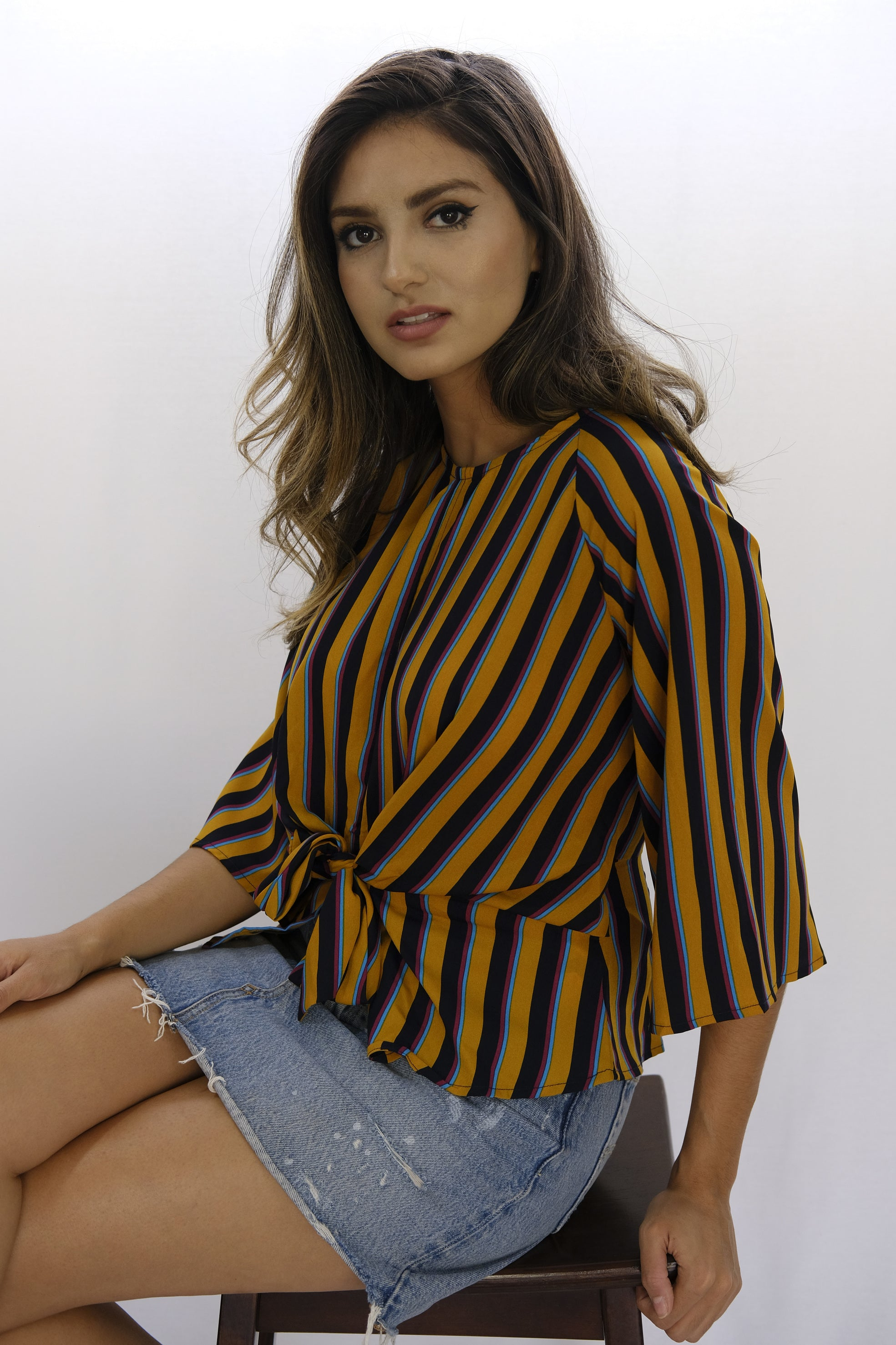 Keyhole Tie Front Striped Ginger Blouse