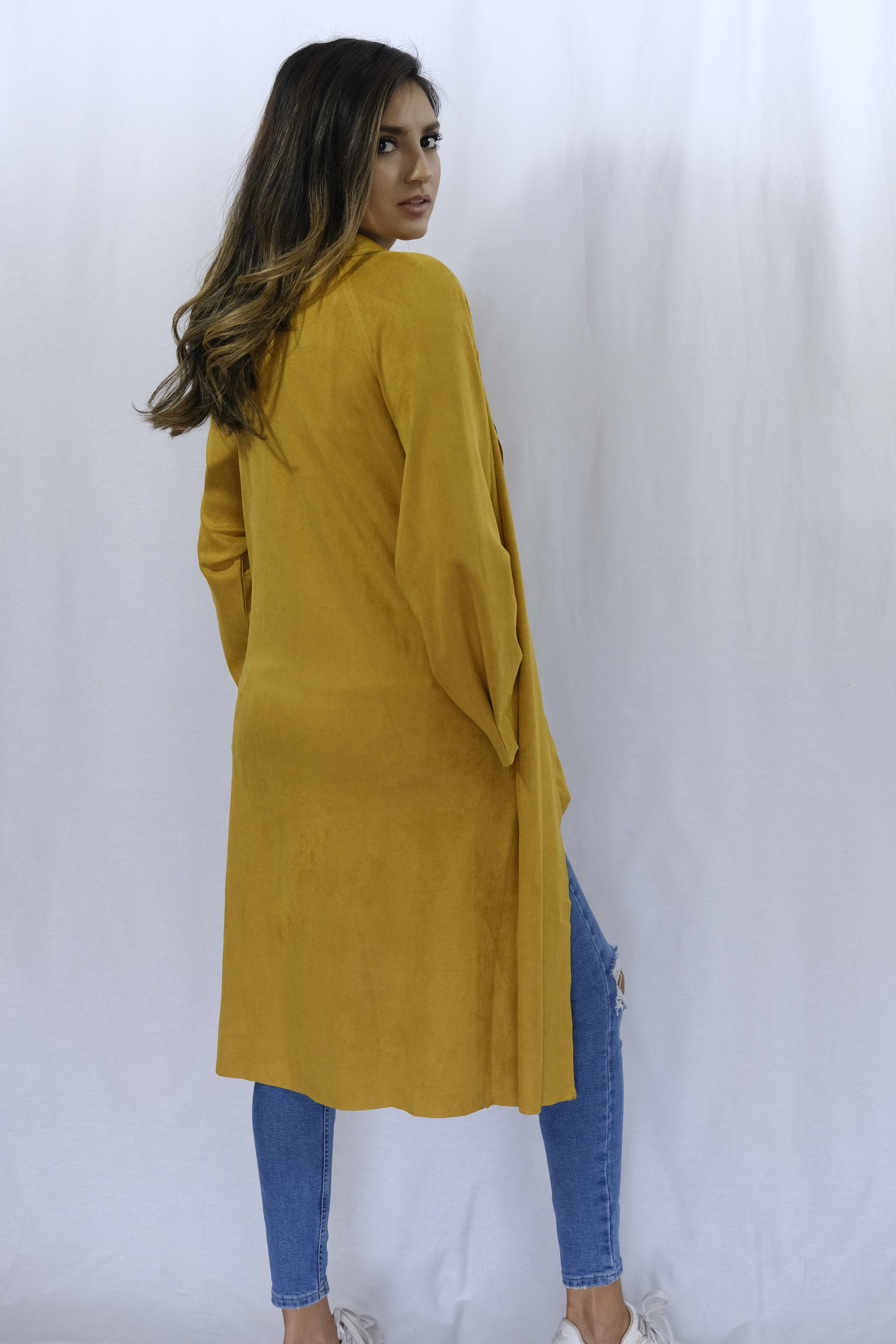 Long Suede Mustard Trench Coat