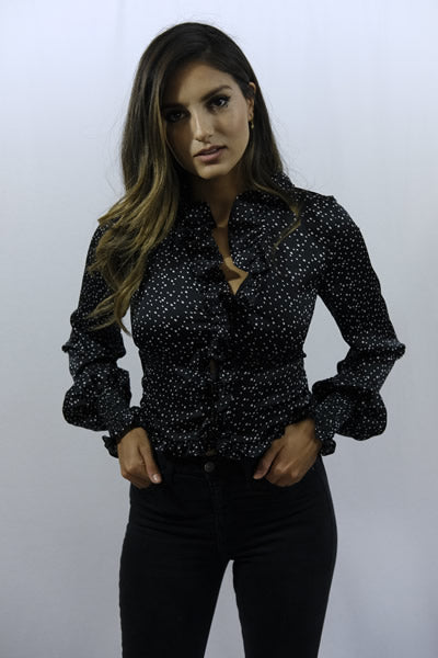 Mini Polka Dot Ruffled Black Blouse