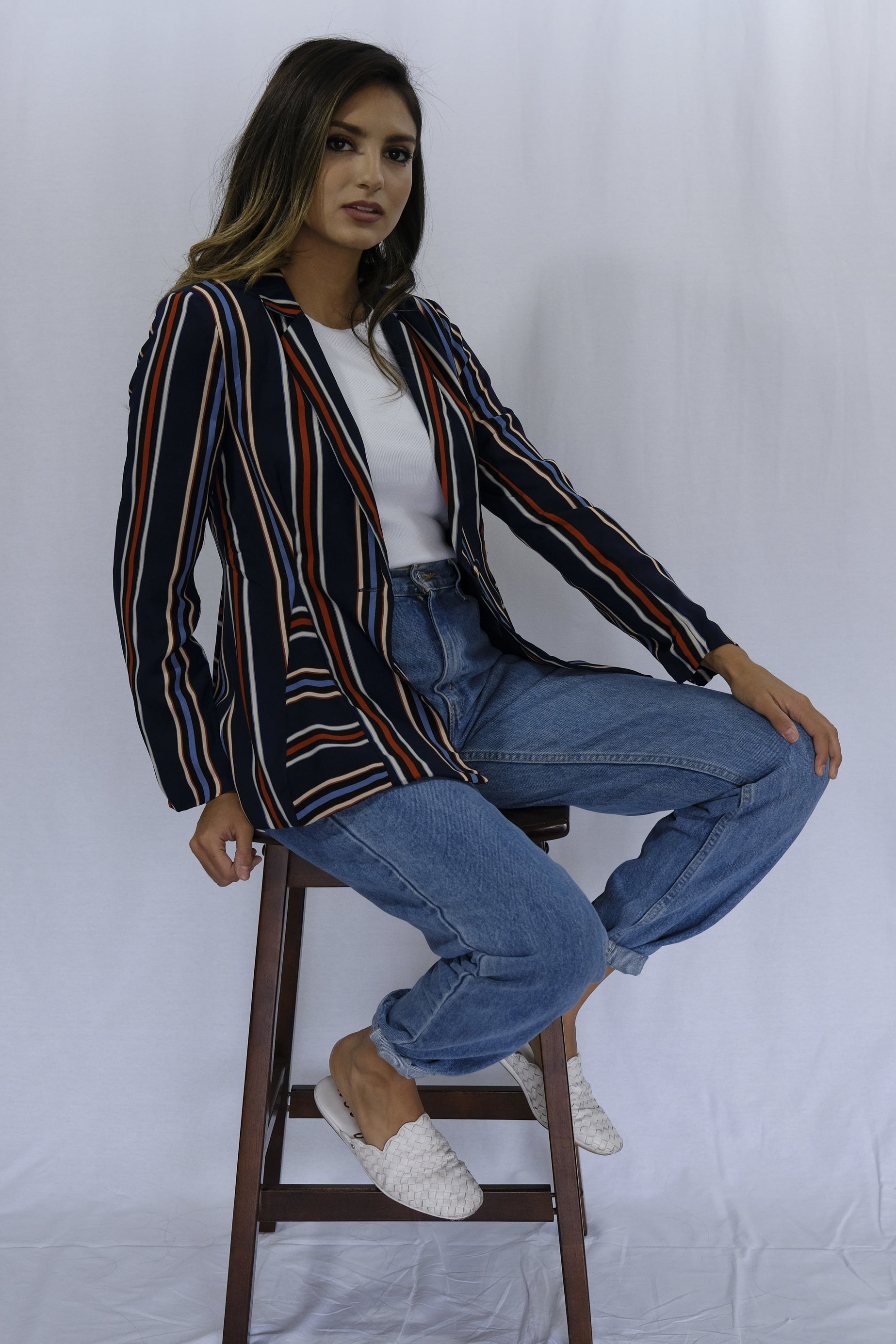 Oversized Striped Orange Navy Blazer