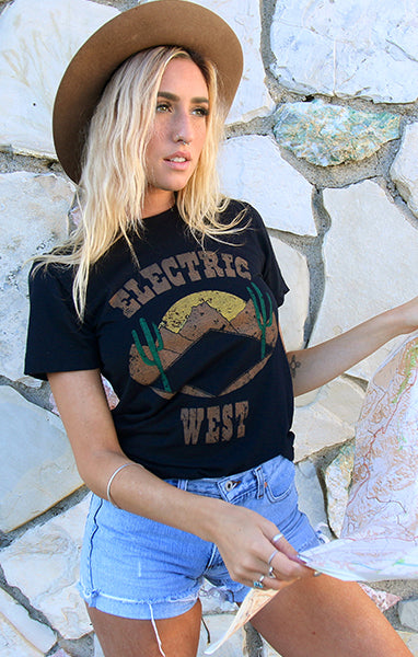 Black Super Soft Distressed Desert Tee