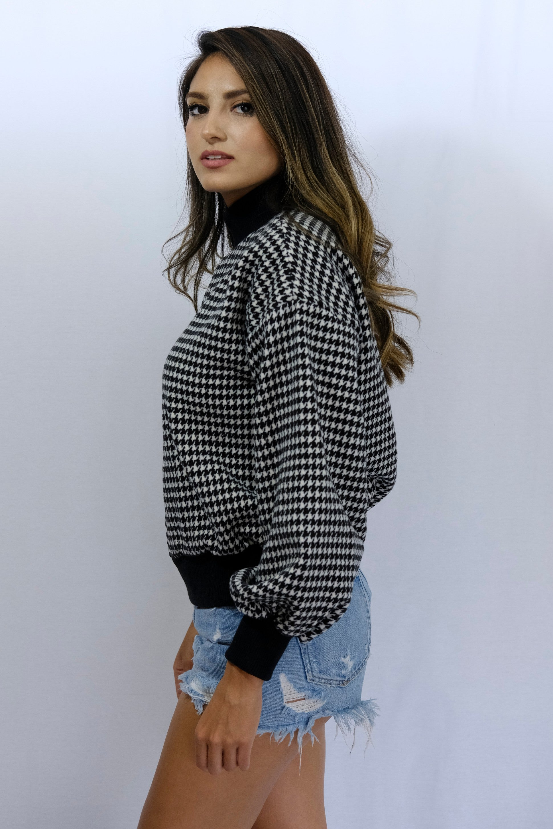 Black White Houndstooth Mockneck Sweatshirt