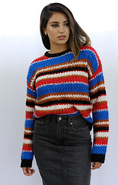 Bold Red+Blue Striped Knit Sweater
