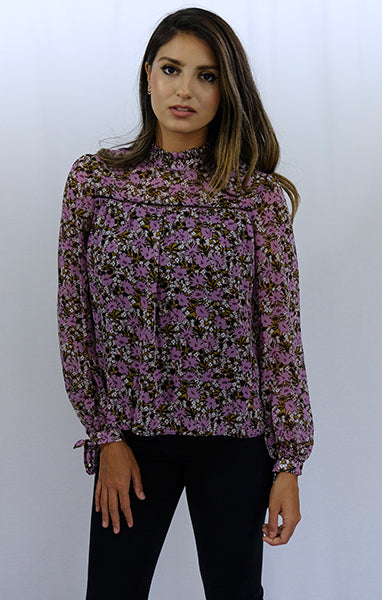 Long Sleeve Purple Floral Print Mock Neck Blouse Top