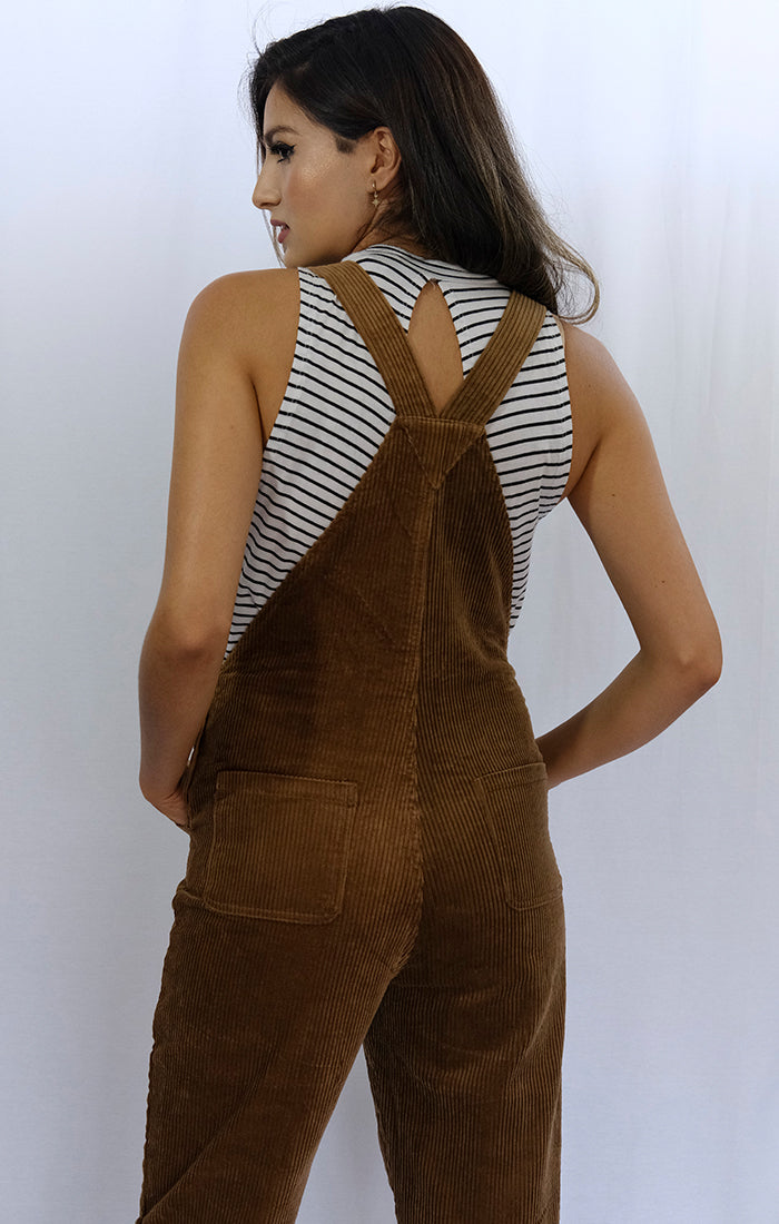 Soft Brown Corduroy Overall Jumper