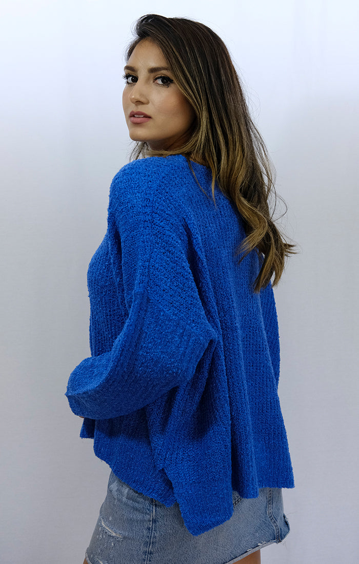 Vibrant Blue Oversized Soft Knit Sweater