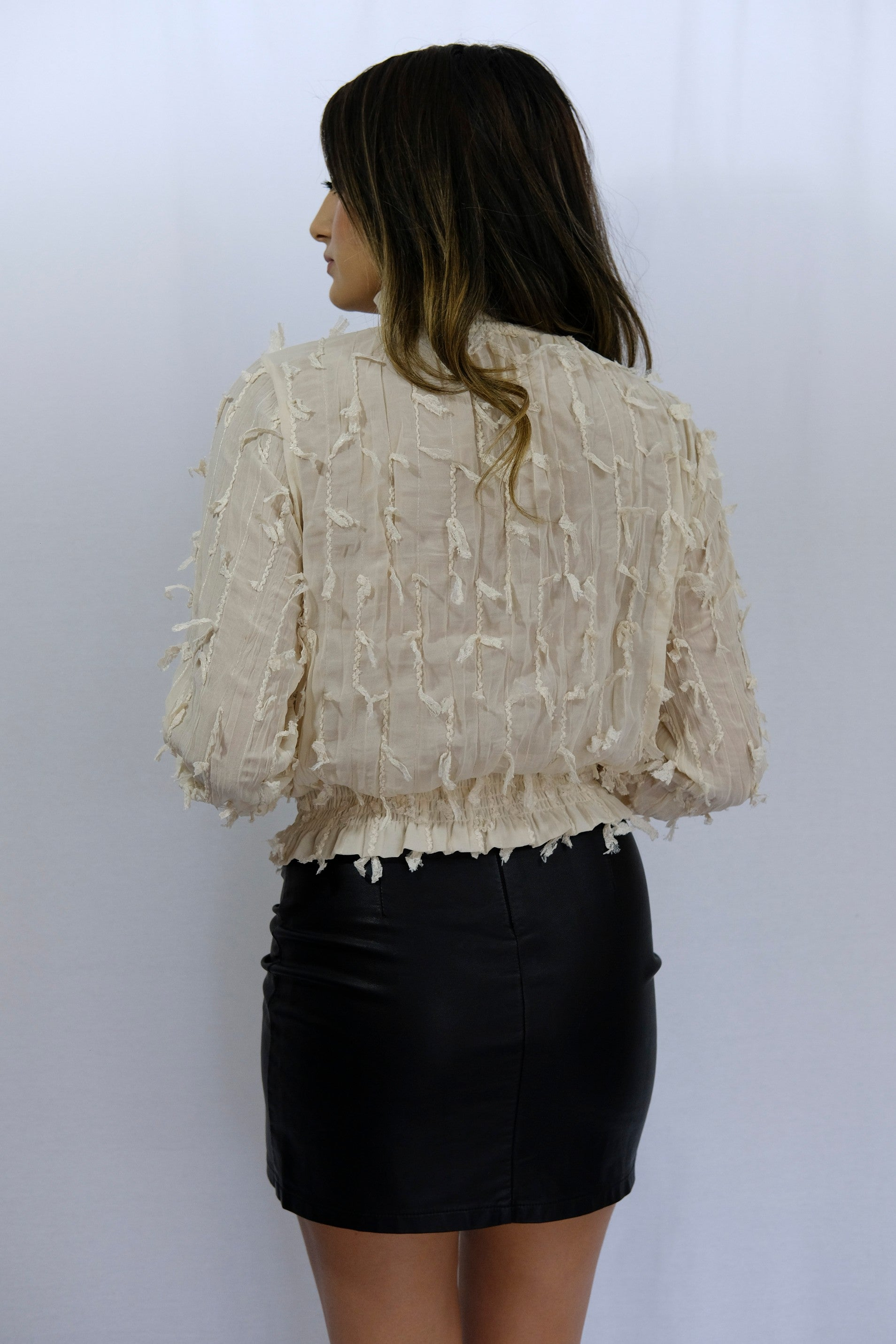 Ivory Long Sleeve High Neck Top