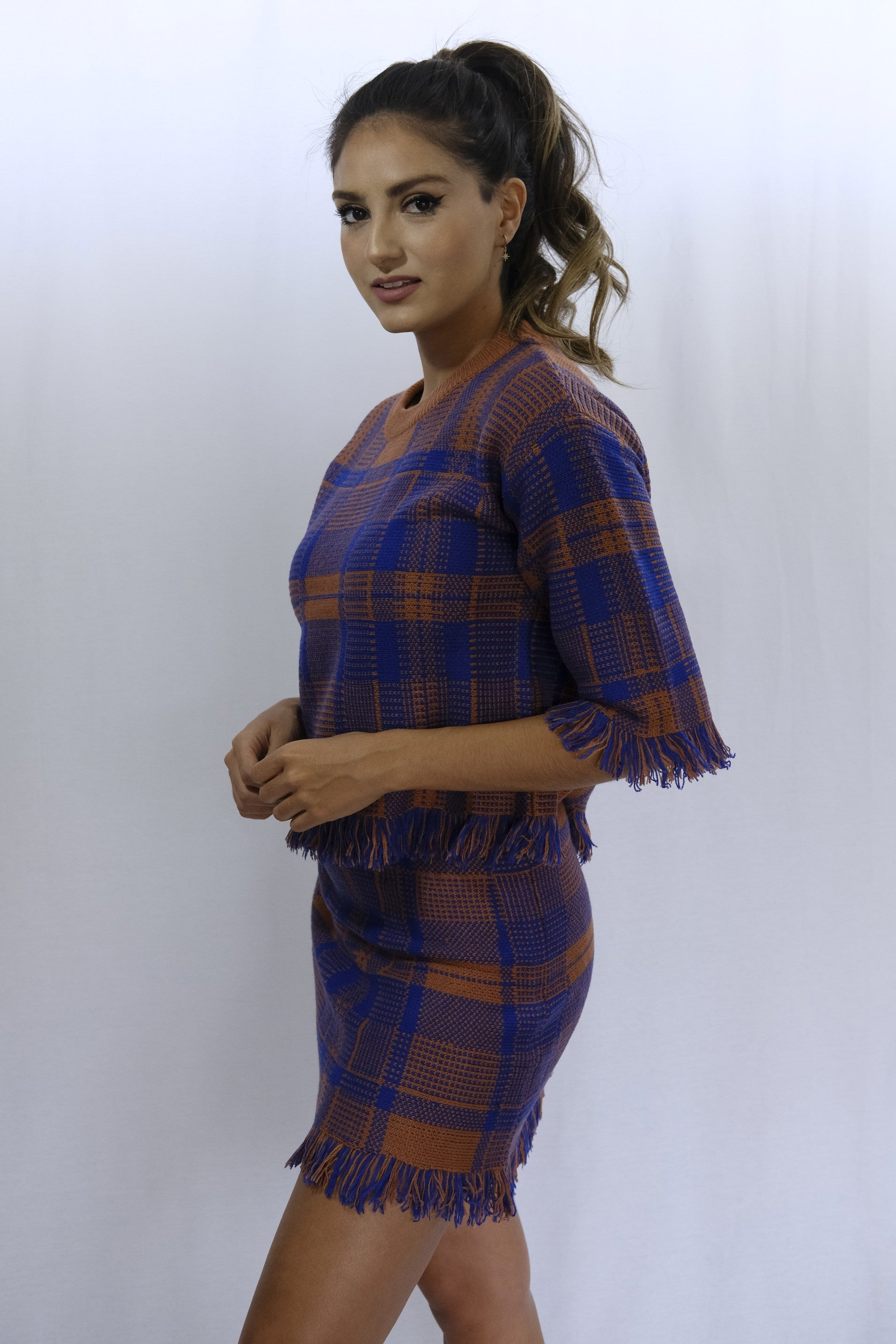 Rust Plaid Fringed Hem Skirt