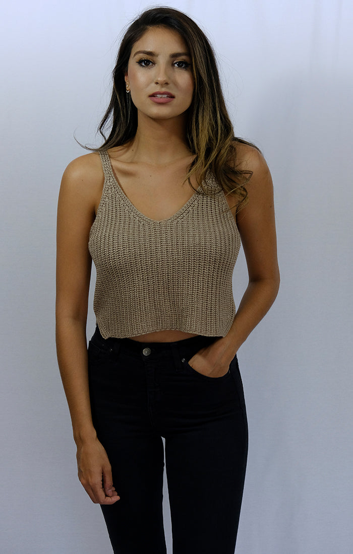 Oatmeal Spaghetti Strap Cropped Sweater