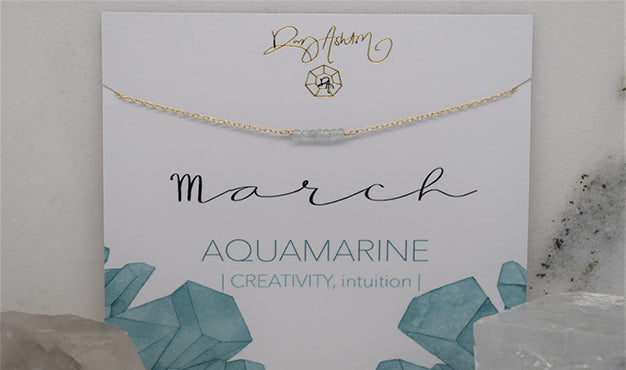 Aquamarine Bar Birthstone Necklace