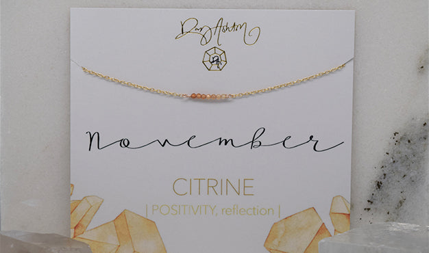 Citrine Bar Birthstone Necklace