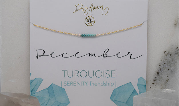 Turquoise Bar Birthstone Necklace