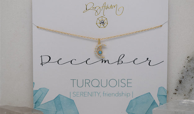 Turquoise Crescent Birthstone Necklace