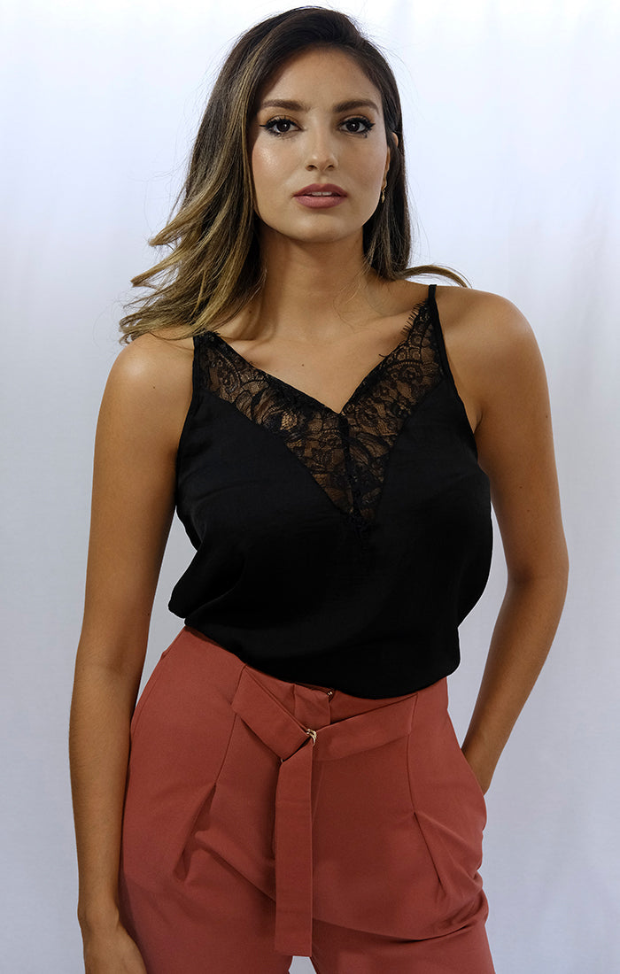Satin And Lace Black Camisole