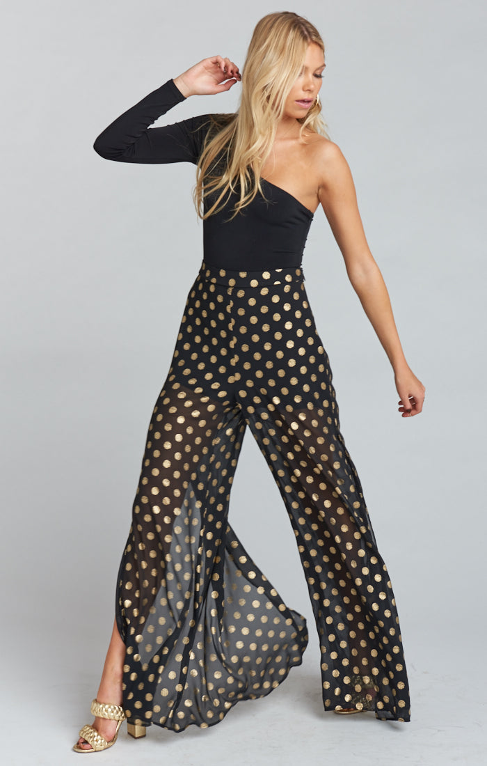 Cosmic Dot Gold Campbell High Slit Pants