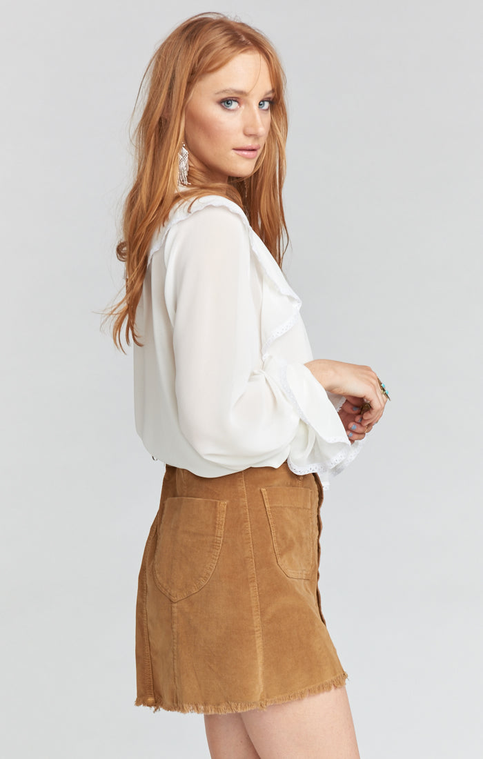 Sedona Stretch Corduroy Hazelnut Skirt