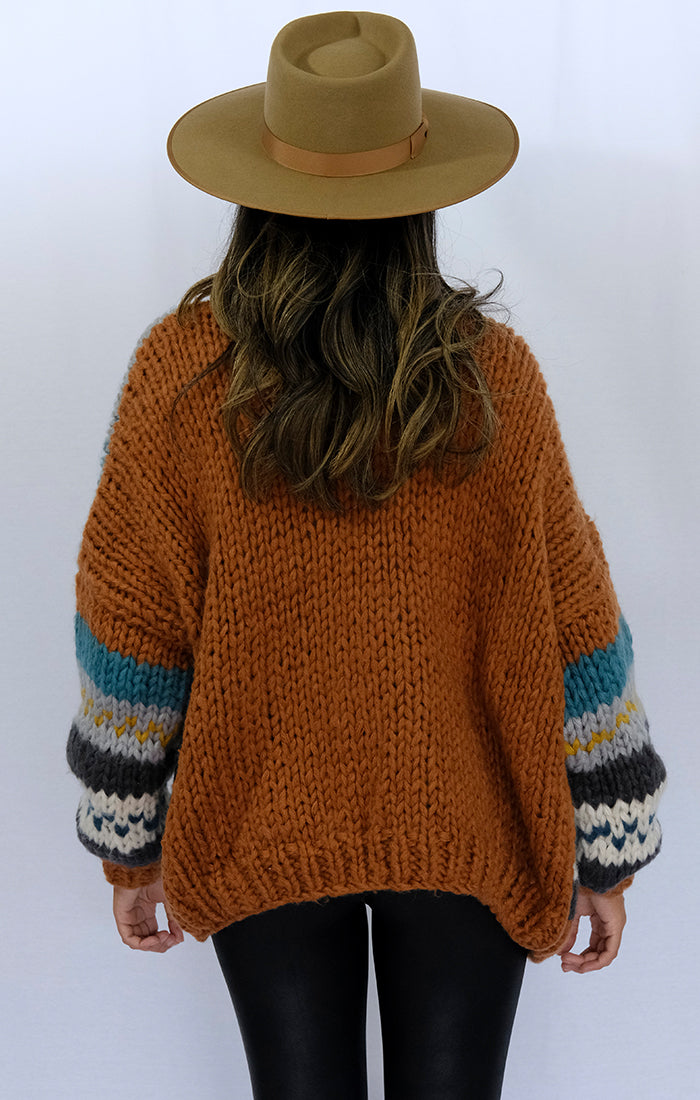 Throwback Patterned Open Front Chunky Cardigan Sweater