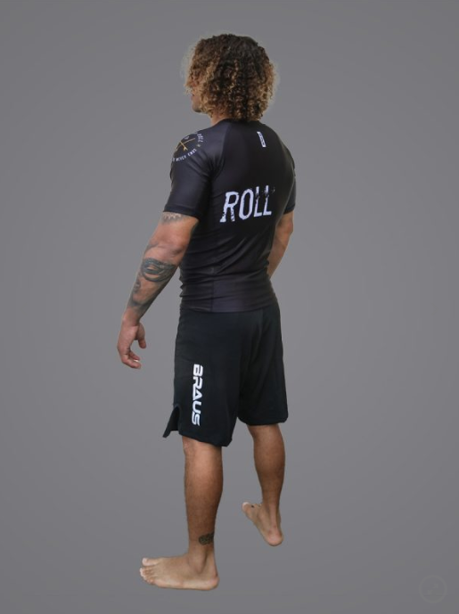 Braus Surf and Roll Rashguard Short Sleeve Black/Gold