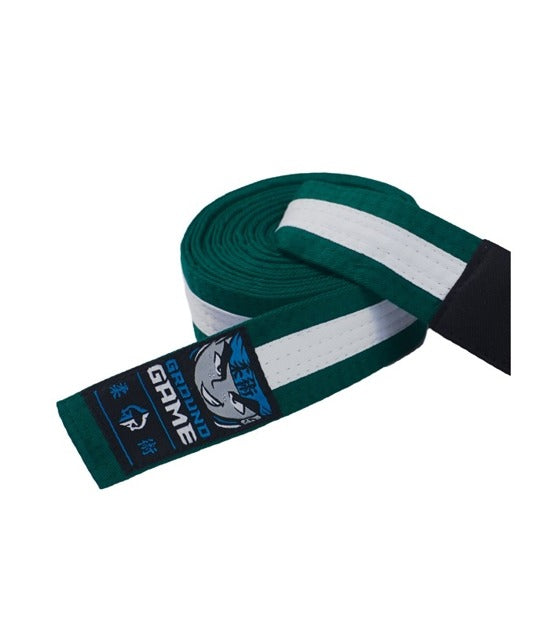 Ground Game BJJ Kids Belt Green with White Stripe