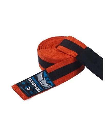 Ground Game BJJ Kids Belt Orange with Black Stripe