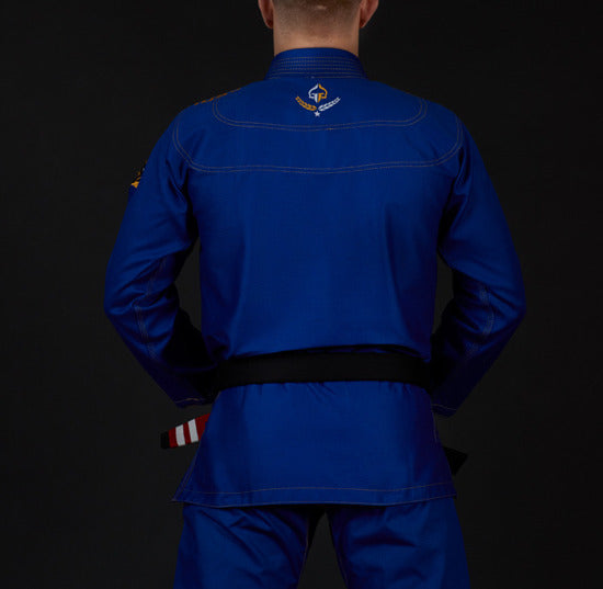 Back view of a Ground Game Champion 2.0 BJJ Gi Blue