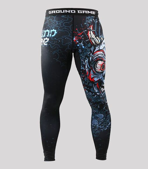 Front view of a Ground Game Oni Black Leggings