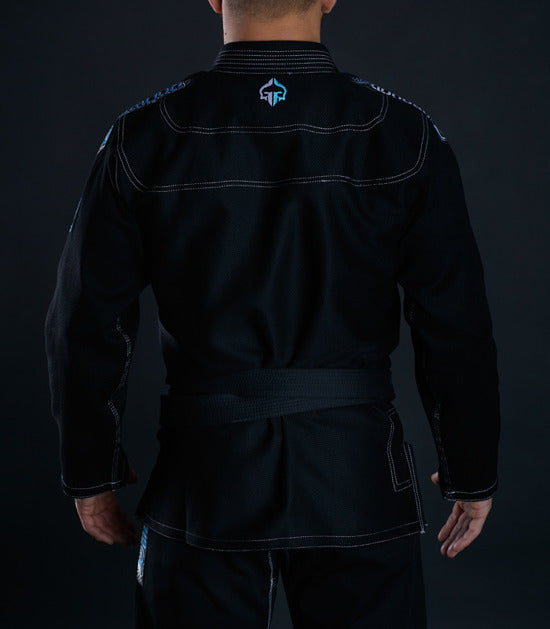 Back view of a Ground Game Rookie BJJ Gi Black