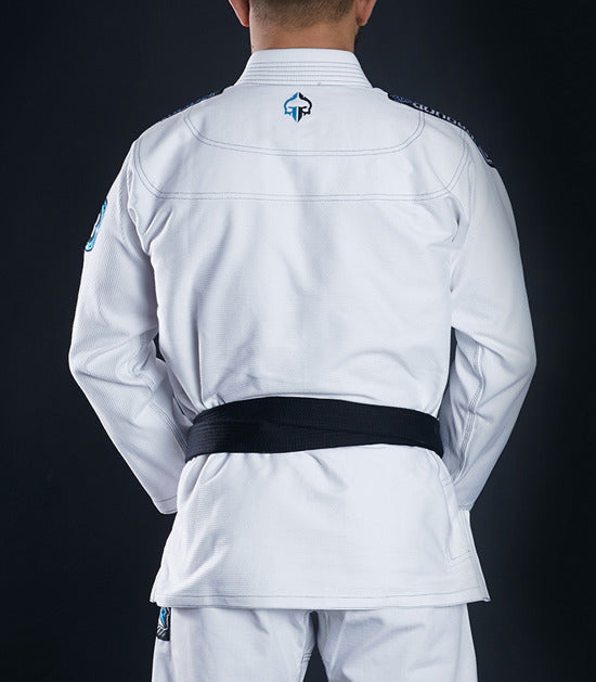 Back view of a Ground Game Rookie BJJ Gi White