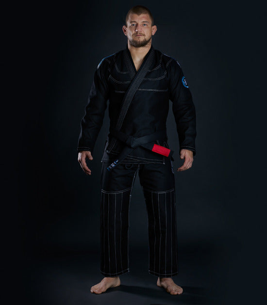 Front view of a Ground Game Rookie BJJ Gi Black