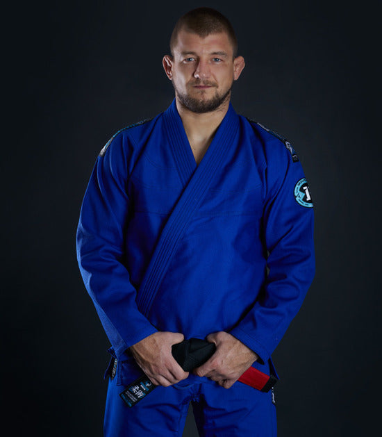 Front view of a Ground Game Rookie BJJ Gi Blue