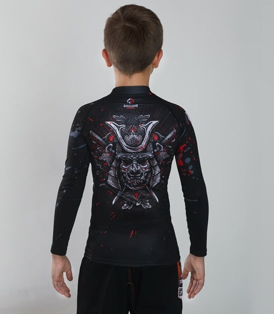 Back view of a Ground Game Samurai Mask Rashguard