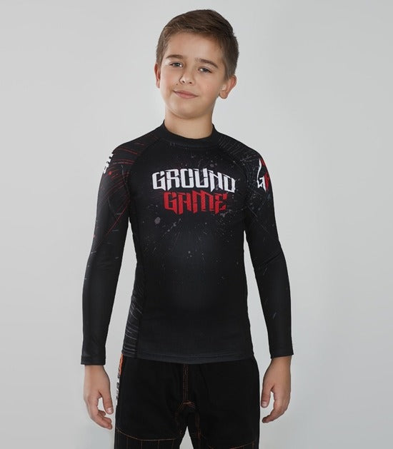 Front view of a Ground Game Samurai Mask Rashguard