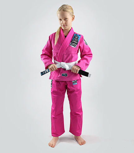 Front view of a Ground Game Tensai BJJ Kids Gi Pink