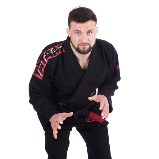 Tatami Red Bar BJJ Gi Black front closeup