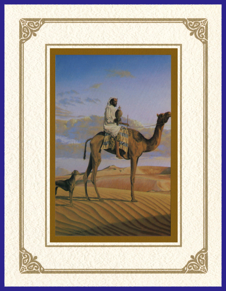 Desert Life Collection of Orientalist Art - DLC2 The Falconer  (Pack of 5 cards and envelopes) - manara