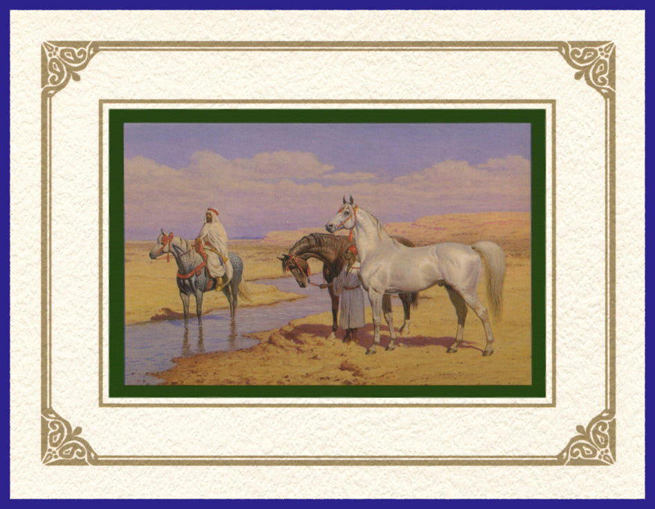 Desert Life Collection of Orientalist Art - DLC7 Morning Stroll (Pack of 5 cards and envelopes) - manara