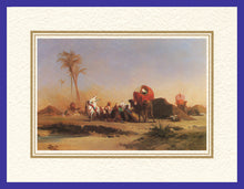 Load image into Gallery viewer, Mathaf Collection of Orientalist Art MC14 - Jules Marie Desandre - 'Shelter by the Oasis' (Pack of 5 cards and envelopes) - manara
