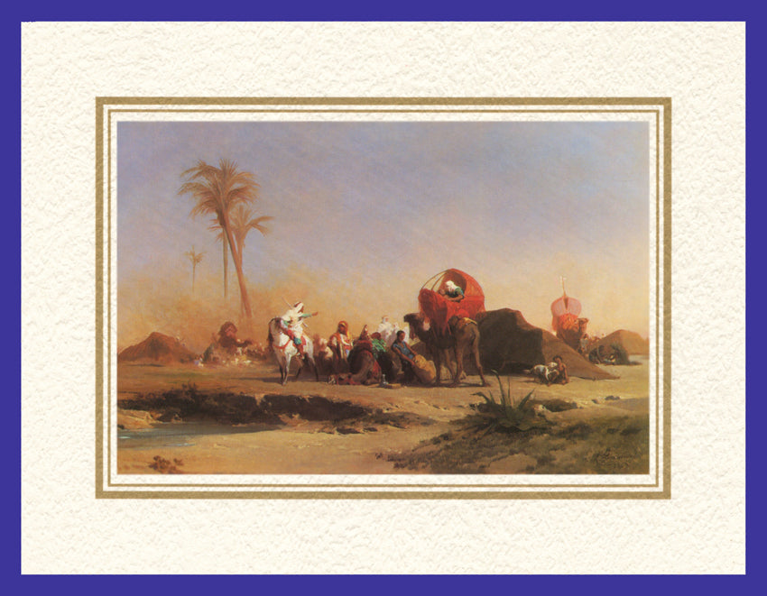 Mathaf Collection of Orientalist Art MC14 - Jules Marie Desandre - 'Shelter by the Oasis' (Pack of 5 cards and envelopes) - manara