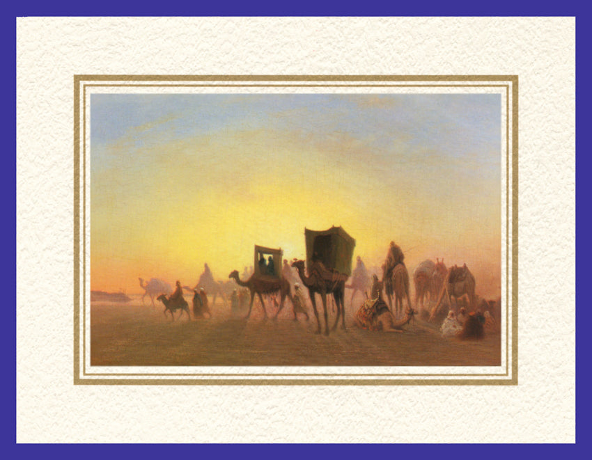 Mathaf Collection of Orientalist Art MC15 - Charles Theodore Frere - 'Arrival of the Caravan' (Pack of 5 cards and envelopes) - manara