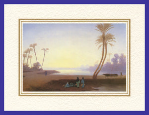 Mathaf Collection of Orientalist Art MC2 - Charles Theodore Frere - 'By an Oasis' (Pack of 5 cards and envelopes) - manara