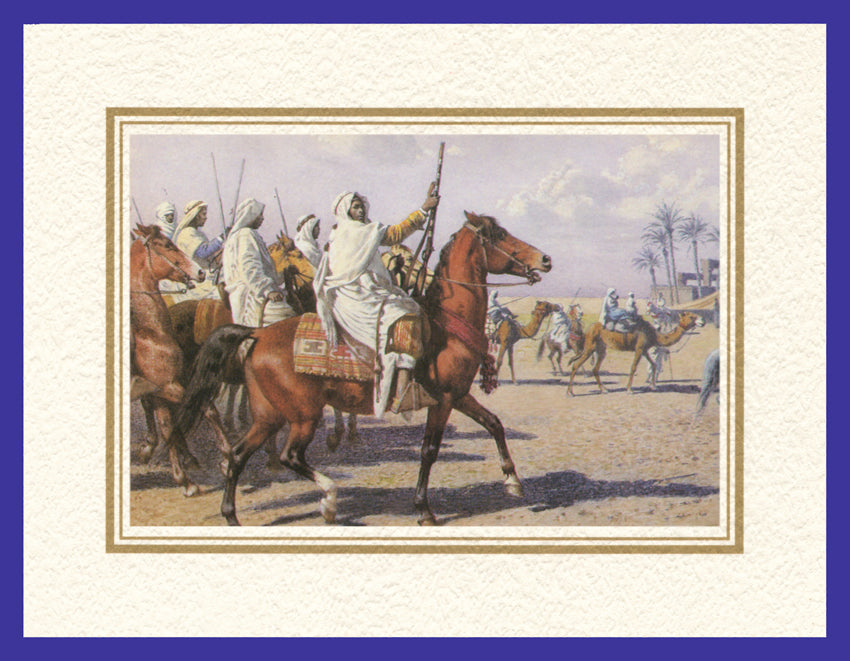 Mathaf Collection of Orientalist Art MC5 - Alexander von Wagner - 'Mounted Bedouin' (Pack of 5 cards and envelopes) - manara