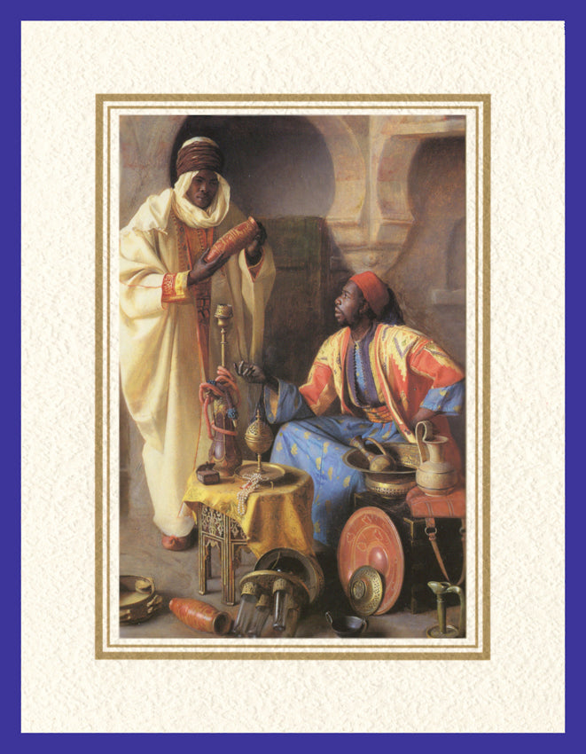 Mathaf Collection of Orientalist Art MC6 - Jean Discart - 'The Connoisseur' (Pack of 5 cards and envelopes) - manara